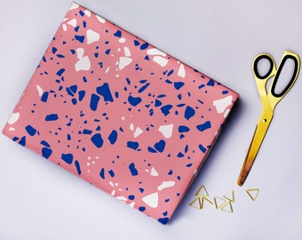 Pink Terrazzo Gift Wrap, Pink, Wrapping Paper, Gift Paper, Fashion Gift, Illustrated, Design, Blue, Marble
