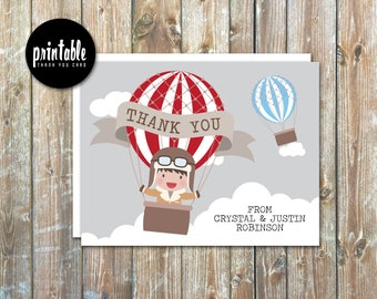 Little Aviator Rustic Vintage Hot Air Balloon Baby Shower Thank You Cards