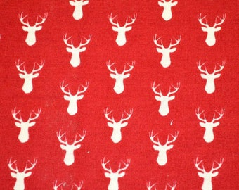 Red reindeer and Ecru fabric