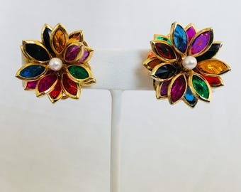 Swarovski Multi-Color Crystal Flower Navettes With Faux Pearl Gold Tone Vintage Clip Earrings