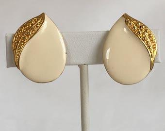 Contemporary Flower Earrings, Peek-a-boo Leaf, Cream Enamel, Gold Tone, Clip On, Vintage, 1980s