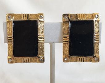 Rectangle Earrings, Black and Gold, Black Enamel, Gold Tone, Rhinestones, Clip On, Geometric, Vintage, 1970s
