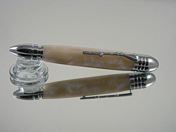 Handcrafted Civil War Pen in Chrome and Blue Pearl Acrylic
