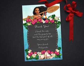 Personalized Moana and Pua Thank You Card Birthday Party Printable Hibiscus Tropical Flowers Chalkboard