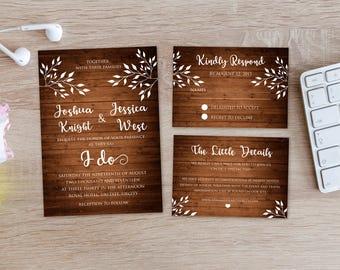Personalized Rustic Wedding Suite Wood Grain Tree Branches Script Marriage Invitation Invite RSVP Details Card DIY Printable - Digital File