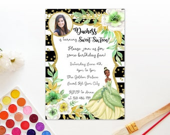 Personalized Tiana Princess and The Frog 16th 18th 18 Birthday Party Photo Card Invitation Invite Black Stripes Gold Flowers Watercolors