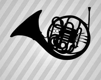 French Horn - Svg Dxf Eps Silhouette Rld RDWorks Pdf Png AI Files Digital Cut Vector File Svg File Cricut Laser Cut