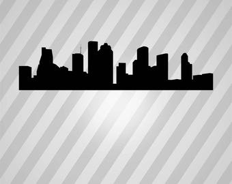 houston skyline Silhouette - Svg Dxf Eps Silhouette Rld RDWorks Pdf Png AI Files Digital Cut Vector File Svg File Cricut Laser Cut