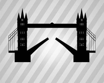 tower bridge Silhouette - Svg Dxf Eps Silhouette Rld RDWorks Pdf Png AI Files Digital Cut Vector File Svg File Cricut Laser Cut
