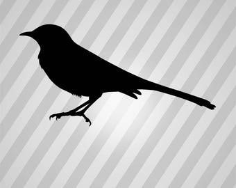 Bird Mockingbird Silhouette Bird - Svg Dxf Eps Silhouette Rld RDWorks Pdf Png AI Files Digital Cut Vector File Svg File Cricut Laser Cut