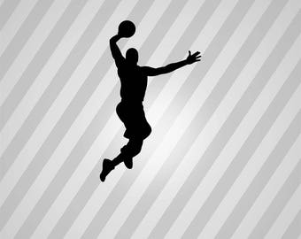 basketball dunk Silhouette - Svg Dxf Eps Silhouette Rld RDWorks Pdf Png AI Files Digital Cut Vector File Svg File Cricut Laser Cut