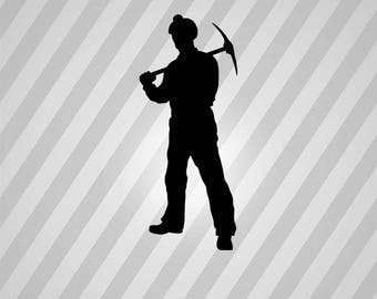 coal miner Silhouette - Svg Dxf Eps Silhouette Rld RDWorks Pdf Png AI Files Digital Cut Vector File Svg File Cricut Laser Cut