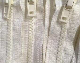 9x White 20cm Closed Zippers