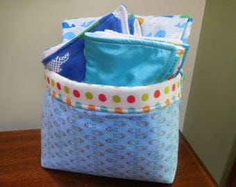 Baby Gift Set (set of 3 burp cloths, portable changing pad & Minky blanket) in a Reusable Fabric Bin