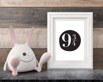 Platform Nine and Three Quarters Harry Potter Print | Nursery Decor | Instant download| New Shop Sale Price on all Instant Digital Prints!