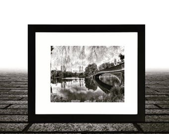 Bow Bridge, Central Park New York City, Wall framed art, Photo Art, Black & White
