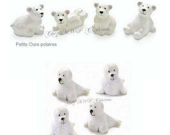 lot de 4 petites sujets miniatures (Ours polaire ou Phoques)