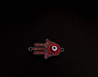 1 connector Hamsa / Fatima black metal with red rhinestone eye