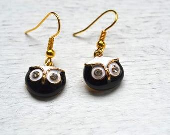 "OWL ""in black and white"" earrings"