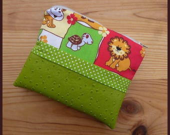 """Multi function """"The animals of the Jungle"""" lime green ostrich leatherette case"""