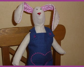My Easter Bunny wearing a blue dress beige canvas