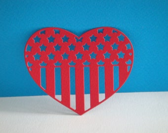 USA flag in red paper heart cut