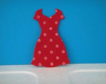 "Cut red felt ""V"" with polka dots dress"
