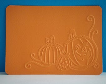 Cut out card embossed Pumpkin orange background