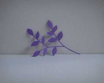 Cut branch of purple paper for creation