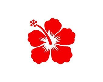 Hibiscus red vinyl sticker shiny 9.3 cm high (glass exterior, ref: S)
