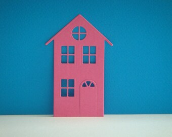 Cut pink house dark city for scrapbooking and card