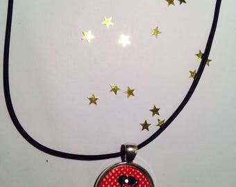 """Rubber necklace pendant 25 mm Choker """"Shadow love background red"""""""