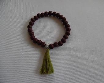 Tibetan bracelet, mala 27 beads Brown cypress wood.