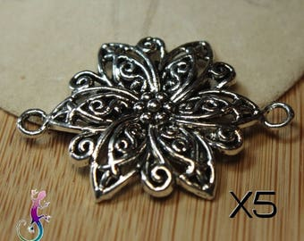 5 connector spacer flower ornate antique silver metal