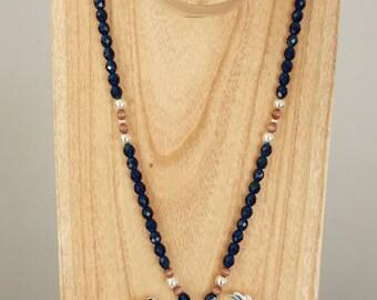 Long necklace silver ameridien Eagle