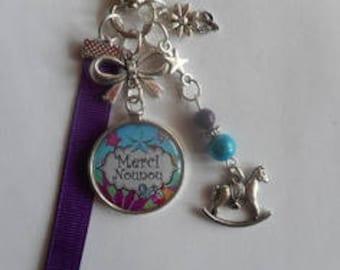 "Bag charm, door keys/nanny / ""thank you nanny"" / year end gift/birthday/party/thanks/holiday / Christmas"