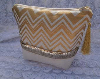 Make-up suede band of sequins and gold Chevron cotton