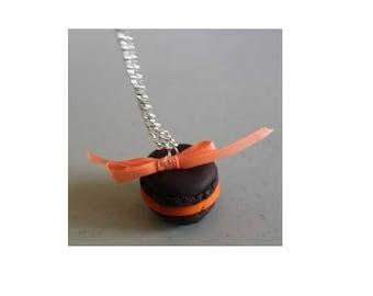 Orange chocolate macaroon necklace