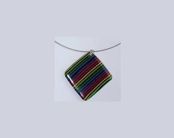 Multi-color square Locket pendant necklace
