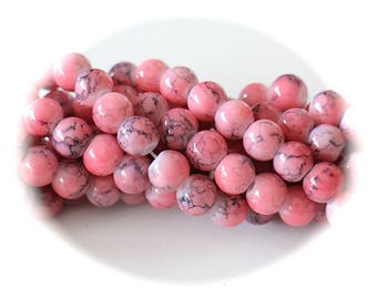 ROUND beads 20 old marbled glass 6 mm grey and pink