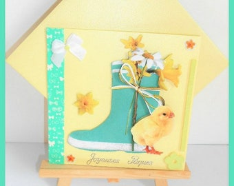 Easter card chick in front of a boot