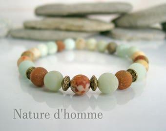 Bracelet texture agate stones and amazonite Ref: BN-249
