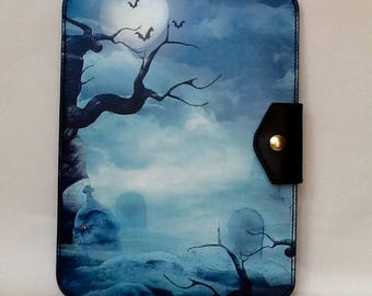 Leather tablet case, handmade leather tablet case with digitally printed gothic graveyard image on the front