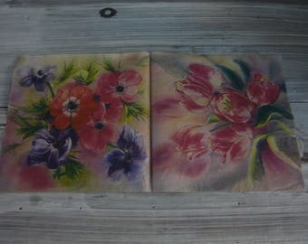 """""""anemones and tulips"""" themed paper napkin"""