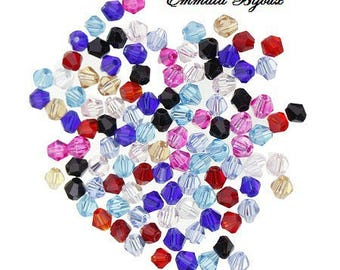 5 beads faceted Crystal 4 x 3 mm