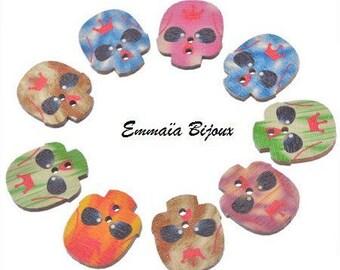 Skull pattern wooden buttons 24 x 20 mm