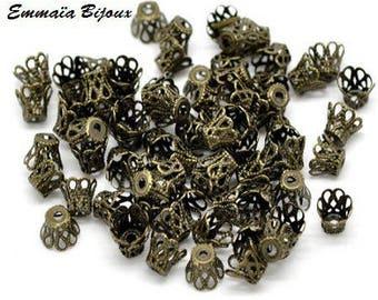 bronze metal caps 10 5 x 4 mm