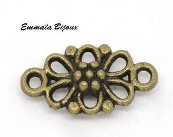 6 metal bronze connectors 16 x 8 mm