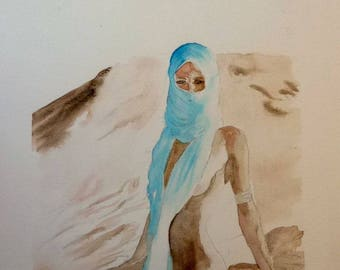 watercolor woman in the desert