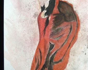 watercolor a beautiful stylized Spanish dancer